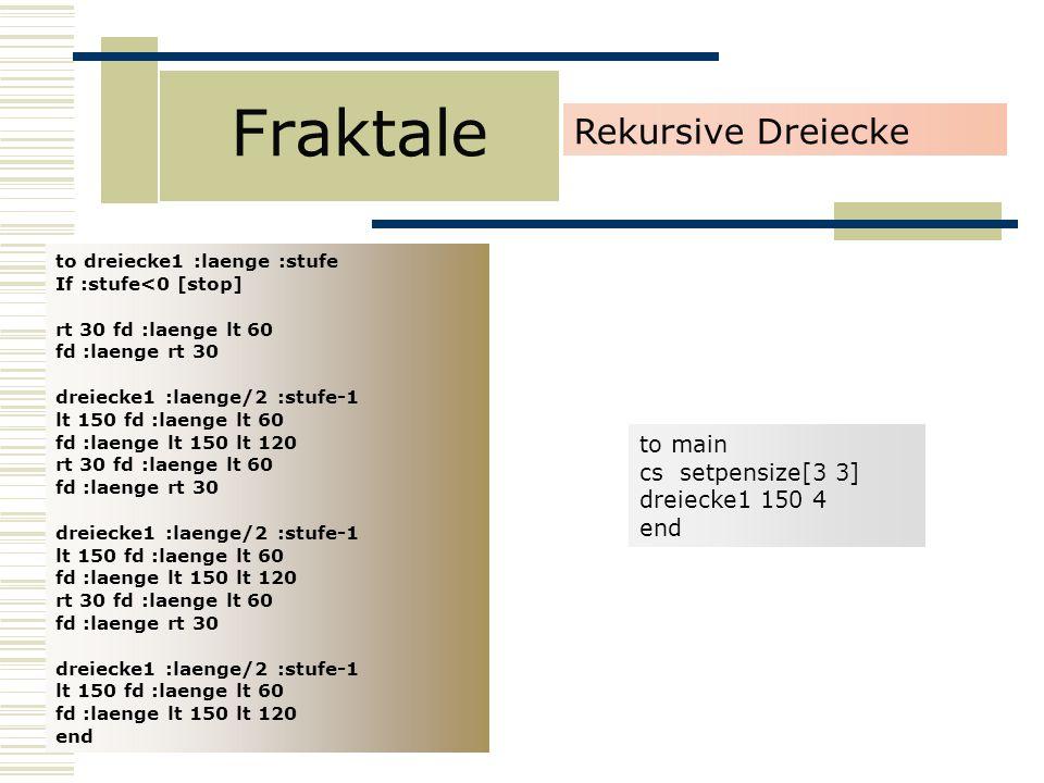 Fraktale Rekursive Dreiecke to main cs setpensize[3 3] dreiecke1 150 4